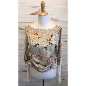 Anthropologie Tiny Ruched Floral Long Sleeve Top